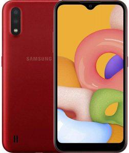 "Samsung Galaxy A01 (A015M) 32GB, Dual SIM, GSM Unlocked, 5.7"" Display Smartphone - International Version - Red"