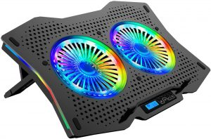 AICHESON Full RGB Lights Laptop Cooling Cooler Pad 2 Turbine Fans