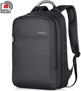 Hanke Carry on Backpack 18 Inch Casual Travel Backpack Durable Anti-Theft Personal Item Backpack Business Daypack Water Resistant College Schoolbag 15.6 inch Computer Rucksack for Women & Men, Black