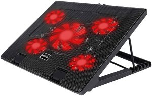 Kootek Laptop Cooler Cooling Pad, 5 Quiet Red LED Fans Up to 17 Inch Gaming Cooler Pad